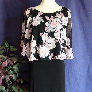 Black Dress with Faux Floral Blouse